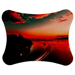Sunset Dusk Boat Sea Ocean Water Jigsaw Puzzle Photo Stand (bow)