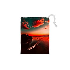 Sunset Dusk Boat Sea Ocean Water Drawstring Pouches (xs)