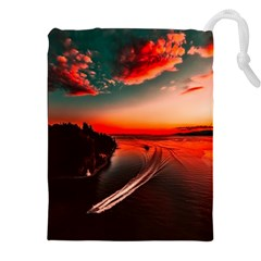Sunset Dusk Boat Sea Ocean Water Drawstring Pouches (xxl)