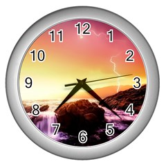 California Sea Ocean Pacific Wall Clocks (silver)