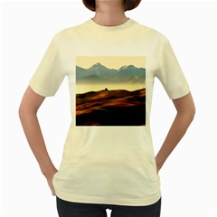 Landscape Mountains Nature Outdoors Women s Yellow T Shirt