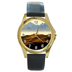 Landscape Mountains Nature Outdoors Round Gold Metal Watch