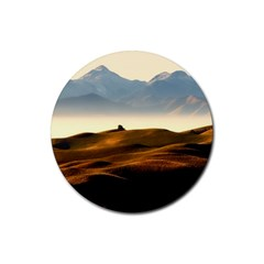 Landscape Mountains Nature Outdoors Rubber Round Coaster (4 Pack)
