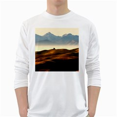 Landscape Mountains Nature Outdoors White Long Sleeve T Shirts