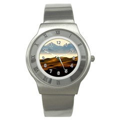 Landscape Mountains Nature Outdoors Stainless Steel Watch