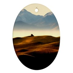Landscape Mountains Nature Outdoors Oval Ornament (two Sides)