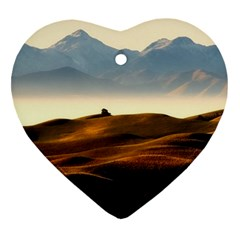 Landscape Mountains Nature Outdoors Heart Ornament (two Sides)