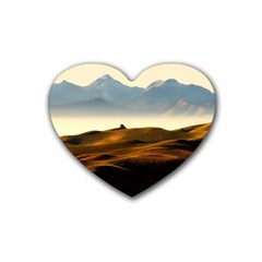 Landscape Mountains Nature Outdoors Heart Coaster (4 Pack)