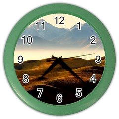 Landscape Mountains Nature Outdoors Color Wall Clocks