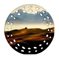 Landscape Mountains Nature Outdoors Round Filigree Ornament (two Sides)