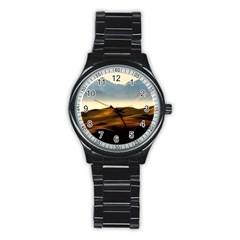 Landscape Mountains Nature Outdoors Stainless Steel Round Watch