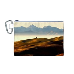 Landscape Mountains Nature Outdoors Canvas Cosmetic Bag (m)