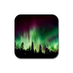 Aurora Borealis Northern Lights Rubber Coaster (square)