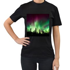 Aurora Borealis Northern Lights Women s T Shirt (black) (two Sided)
