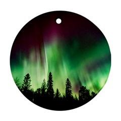 Aurora Borealis Northern Lights Round Ornament (two Sides)