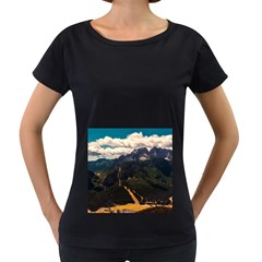 Italy Valley Canyon Mountains Sky Women s Loose Fit T Shirt (black)