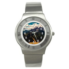 Italy Valley Canyon Mountains Sky Stainless Steel Watch