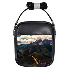 Italy Valley Canyon Mountains Sky Girls Sling Bags