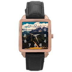 Italy Valley Canyon Mountains Sky Rose Gold Leather Watch