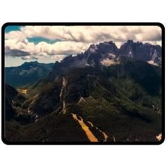 Italy Valley Canyon Mountains Sky Double Sided Fleece Blanket (large)