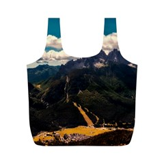 Italy Valley Canyon Mountains Sky Full Print Recycle Bags (m)