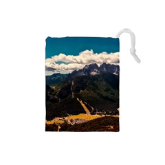 Italy Valley Canyon Mountains Sky Drawstring Pouches (small)
