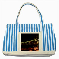 Budapest Hungary Liberty Bridge Striped Blue Tote Bag