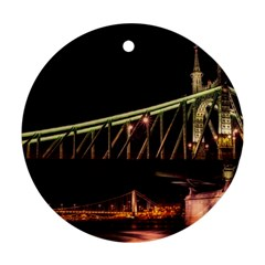 Budapest Hungary Liberty Bridge Round Ornament (two Sides)