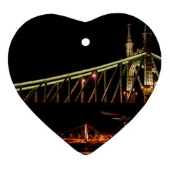 Budapest Hungary Liberty Bridge Heart Ornament (two Sides)