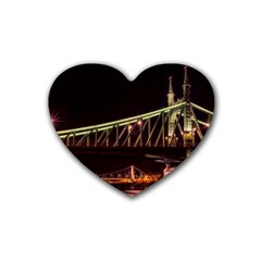 Budapest Hungary Liberty Bridge Rubber Coaster (heart)
