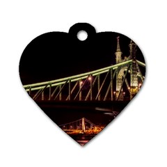 Budapest Hungary Liberty Bridge Dog Tag Heart (one Side)