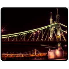 Budapest Hungary Liberty Bridge Double Sided Fleece Blanket (medium)