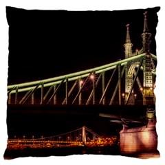 Budapest Hungary Liberty Bridge Large Flano Cushion Case (one Side)