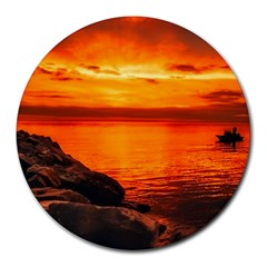 Alabama Sunset Dusk Boat Fishing Round Mousepads