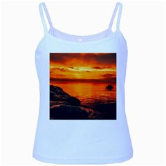 Alabama Sunset Dusk Boat Fishing Baby Blue Spaghetti Tank