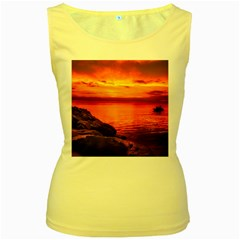 Alabama Sunset Dusk Boat Fishing Women s Yellow Tank Top