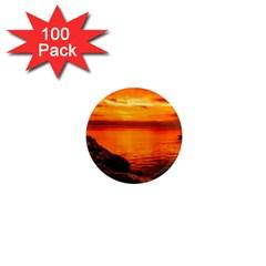 Alabama Sunset Dusk Boat Fishing 1  Mini Magnets (100 Pack)