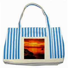 Alabama Sunset Dusk Boat Fishing Striped Blue Tote Bag