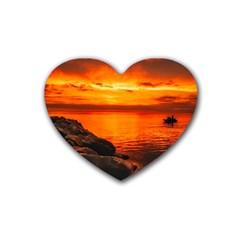 Alabama Sunset Dusk Boat Fishing Heart Coaster (4 Pack)
