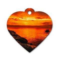 Alabama Sunset Dusk Boat Fishing Dog Tag Heart (two Sides)