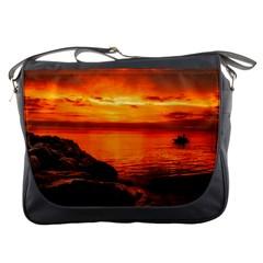Alabama Sunset Dusk Boat Fishing Messenger Bags