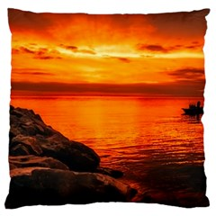 Alabama Sunset Dusk Boat Fishing Large Cushion Case (one Side)