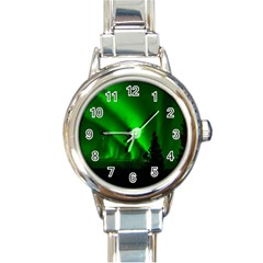 Aurora Borealis Northern Lights Round Italian Charm Watch