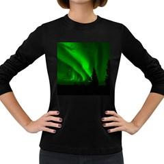 Aurora Borealis Northern Lights Women s Long Sleeve Dark T Shirts