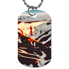 Iceland Landscape Mountains Snow Dog Tag (one Side)
