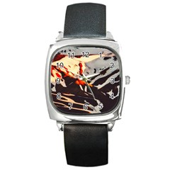 Iceland Landscape Mountains Snow Square Metal Watch