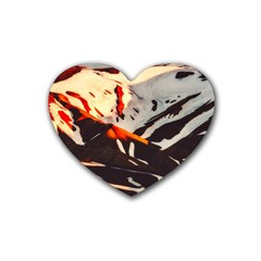 Iceland Landscape Mountains Snow Rubber Coaster (heart)