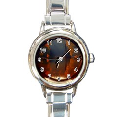 River Water Reflections Autumn Round Italian Charm Watch