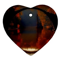River Water Reflections Autumn Ornament (heart)