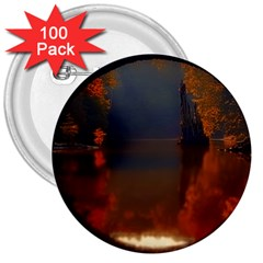 River Water Reflections Autumn 3  Buttons (100 Pack)
